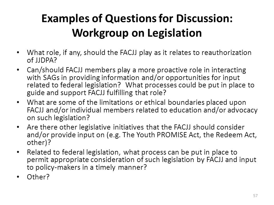 Examples of Questions for Discussion: Workgroup on Legislation What role, if any, should the FACJJ play as it relates to reauthorization of JJDPA? Can