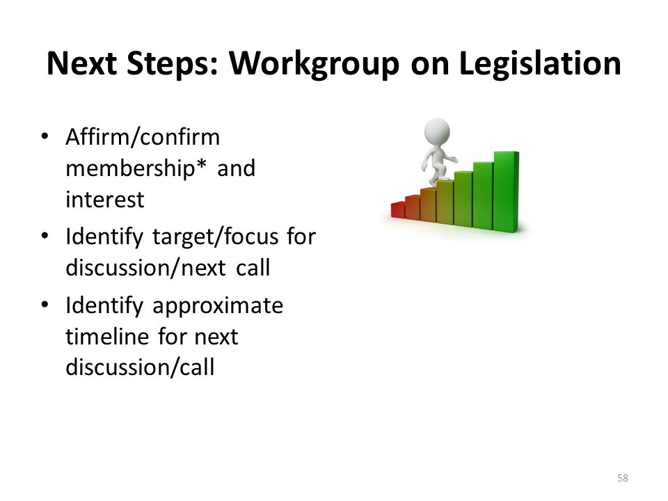 Next Steps: Workgroup on Legislation Affirm/confirm membership* and interest Identify target/focus for discussion/next call Identify approximate timeline for next discussion/call 58