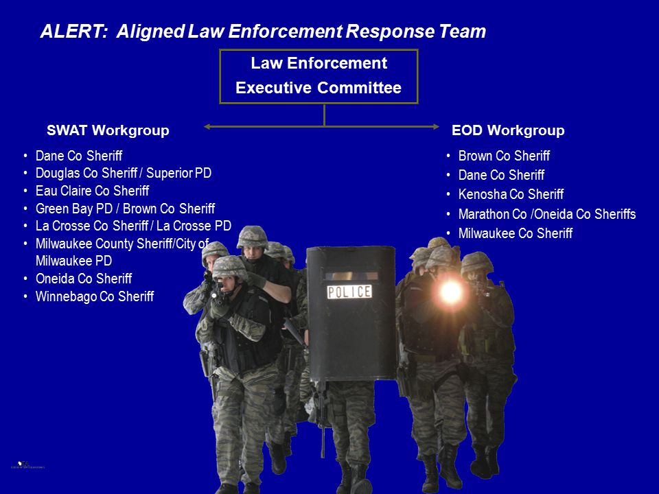 Law Enforcement Executive Committee EOD Workgroup Dane Co Sheriff Douglas Co Sheriff / Superior PD Eau Claire Co Sheriff Green Bay PD / Brown Co Sheri
