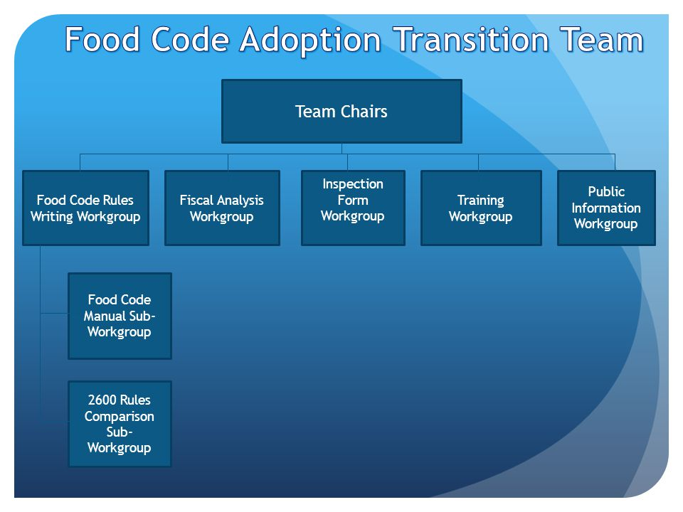 Team Chairs Food Code Rules Writing Workgroup Fiscal Analysis Workgroup Inspection Form Workgroup Training Workgroup Public Information Workgroup Food Code Manual Sub- Workgroup 2600 Rules Comparison Sub- Workgroup