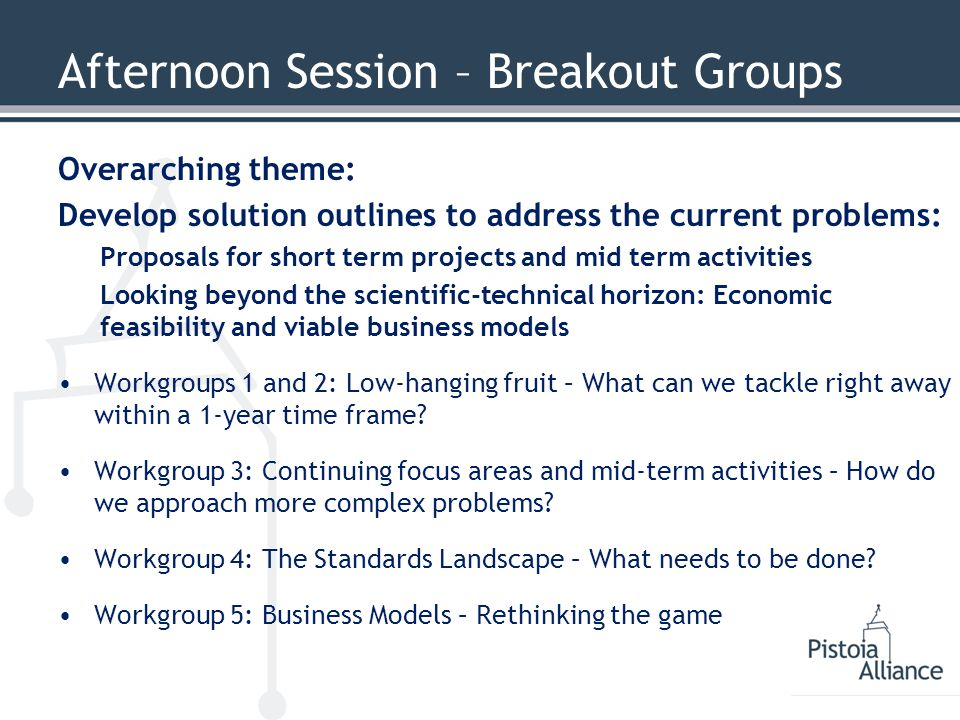 Afternoon Session – Breakout Groups Overarching theme: Develop solution outlines to address the current problems: Proposals for short term projects and mid term activities Looking beyond the scientific-technical horizon: Economic feasibility and viable business models Workgroups 1 and 2: Low-hanging fruit – What can we tackle right away within a 1-year time frame.