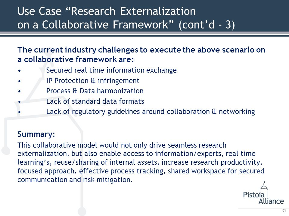 Use Case Research Externalization on a Collaborative Framework (cont'd - 3) The current industry challenges to execute the above scenario on a collaborative framework are: Secured real time information exchange IP Protection & infringement Process & Data harmonization Lack of standard data formats Lack of regulatory guidelines around collaboration & networking Summary: This collaborative model would not only drive seamless research externalization, but also enable access to information/experts, real time learning's, reuse/sharing of internal assets, increase research productivity, focused approach, effective process tracking, shared workspace for secured communication and risk mitigation.