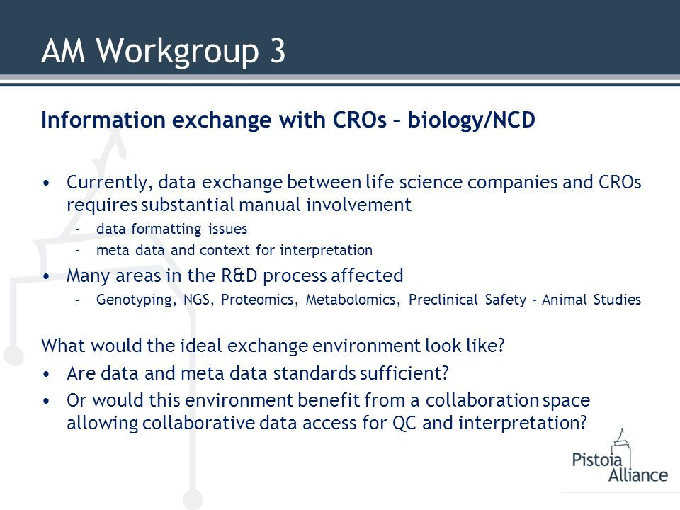 AM Workgroup 3 Information exchange with CROs – biology/NCD Currently, data exchange between life science companies and CROs requires substantial manual involvement –data formatting issues –meta data and context for interpretation Many areas in the R&D process affected –Genotyping, NGS, Proteomics, Metabolomics, Preclinical Safety - Animal Studies What would the ideal exchange environment look like.