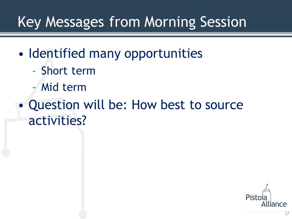 Key Messages from Morning Session Identified many opportunities –Short term –Mid term Question will be: How best to source activities? 37