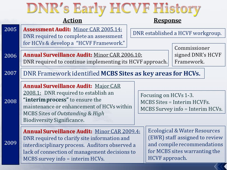 Assessment Audit: Assessment Audit: Minor CAR 2005.14: DNR required to complete an assessment for HCVs & develop a HCVF Framework. ActionResponse DNR established a HCVF workgroup.
