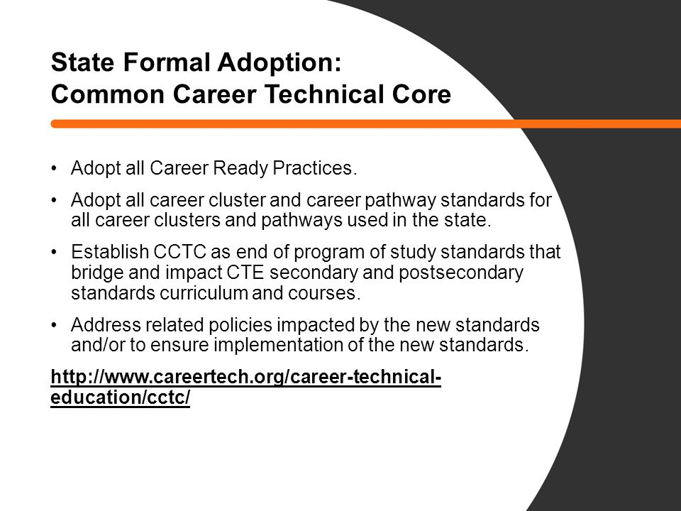 State Formal Adoption: Common Career Technical Core Adopt all Career Ready Practices.