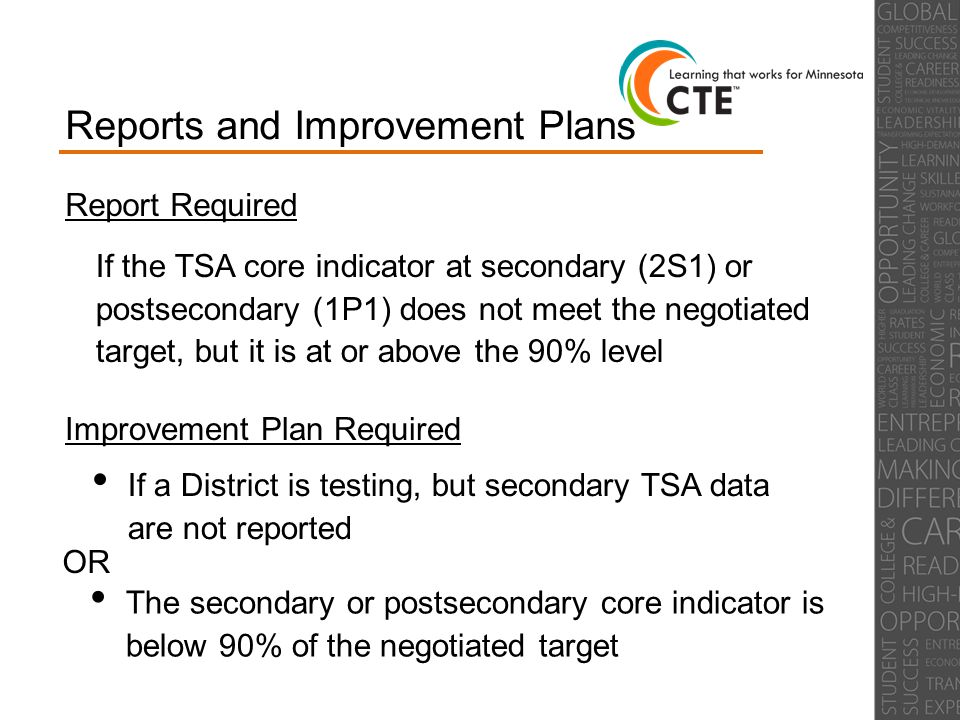 Reports and Improvement Plans Report Required If the TSA core indicator at secondary (2S1) or postsecondary (1P1) does not meet the negotiated target, but it is at or above the 90% level Improvement Plan Required If a District is testing, but secondary TSA data are not reported The secondary or postsecondary core indicator is below 90% of the negotiated target OR