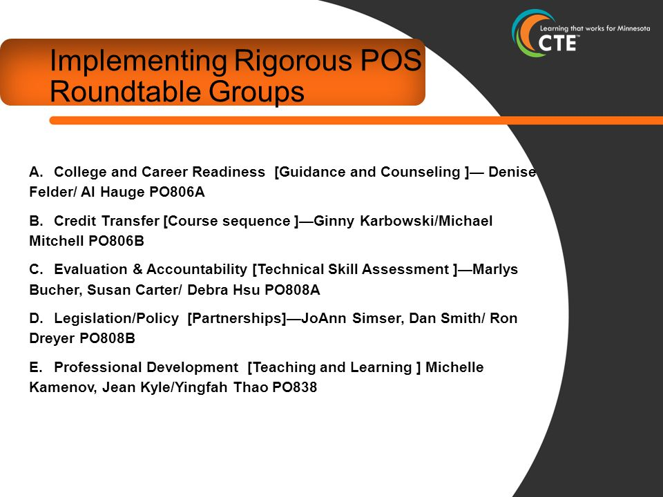 Implementing Rigorous POS Roundtable Groups A.College and Career Readiness [Guidance and Counseling ]— Denise Felder/ Al Hauge PO806A B.Credit Transfer [Course sequence ]—Ginny Karbowski/Michael Mitchell PO806B C.Evaluation & Accountability [Technical Skill Assessment ]—Marlys Bucher, Susan Carter/ Debra Hsu PO808A D.Legislation/Policy [Partnerships]—JoAnn Simser, Dan Smith/ Ron Dreyer PO808B E.Professional Development [Teaching and Learning ] Michelle Kamenov, Jean Kyle/Yingfah Thao PO838