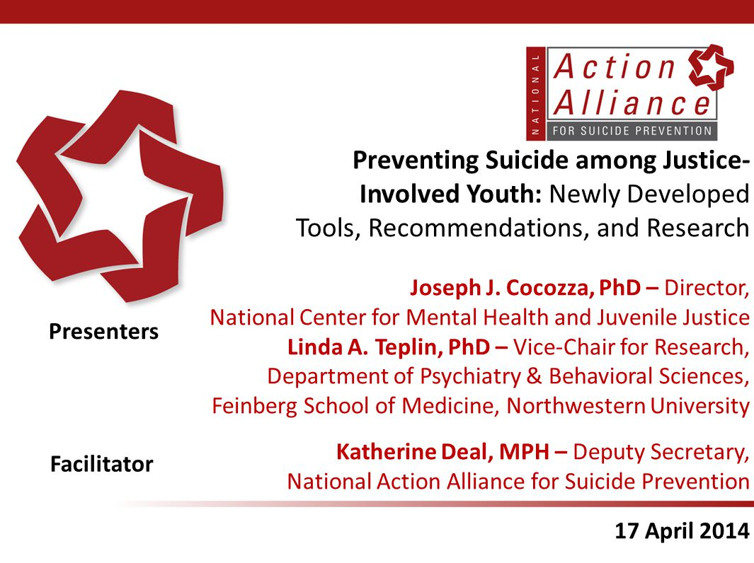 Thank You  Visit the Action Alliance website: www.ActionAllianceForSuicidePrevention.org – more information about the Action Alliance and the NSSP www.ActionAllianceForSuicidePrevention.org/task- force/juvenilejustice – more information about the task force  Contact: ncmhjj@prainc.com info@actionalliance.org Youth in Contact with Juvenile Justice System Task Force