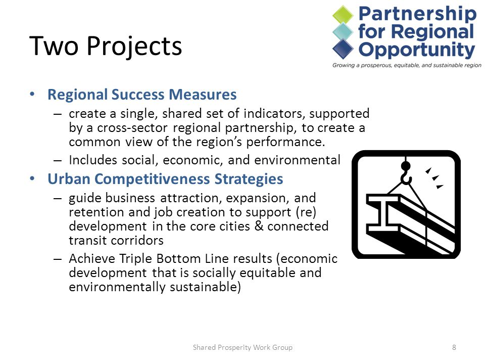Two Projects Regional Success Measures – create a single, shared set of indicators, supported by a cross-sector regional partnership, to create a common view of the region's performance.