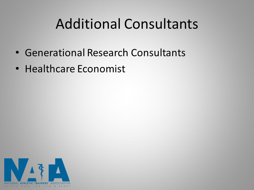 Additional Consultants Generational Research Consultants Healthcare Economist
