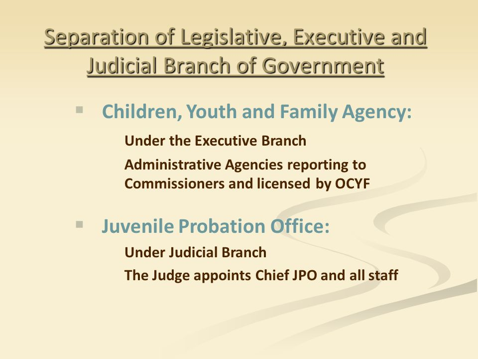 Separation of Legislative, Executive and Judicial Branch of Government  Children, Youth and Family Agency: Under the Executive Branch Administrative Agencies reporting to Commissioners and licensed by OCYF  Juvenile Probation Office: Under Judicial Branch The Judge appoints Chief JPO and all staff