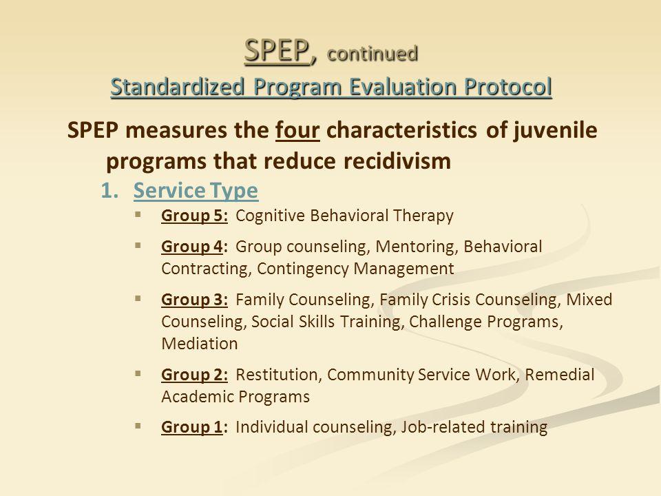SPEP, continued Standardized Program Evaluation Protocol SPEP measures the four characteristics of juvenile programs that reduce recidivism 1. 1.Servi