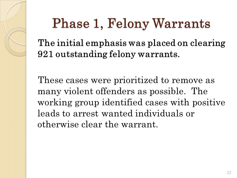 22 Phase 1, Felony Warrants The initial emphasis was placed on clearing 921 outstanding felony warrants.