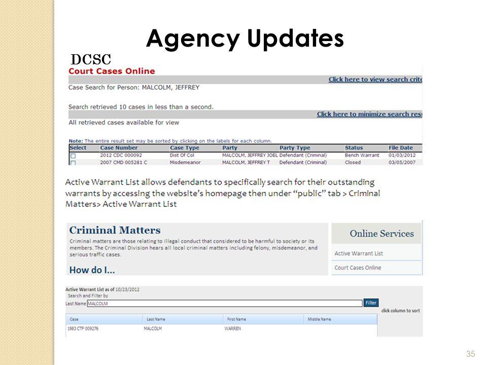 35 Agency Updates DCSC