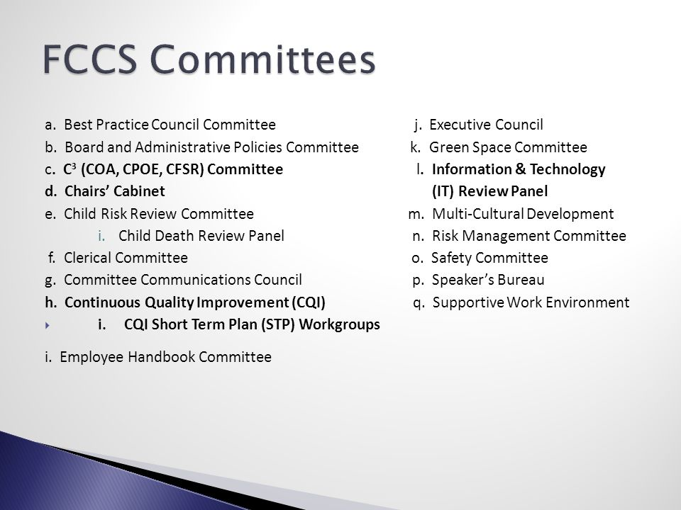 a. Best Practice Council Committee j. Executive Council b.