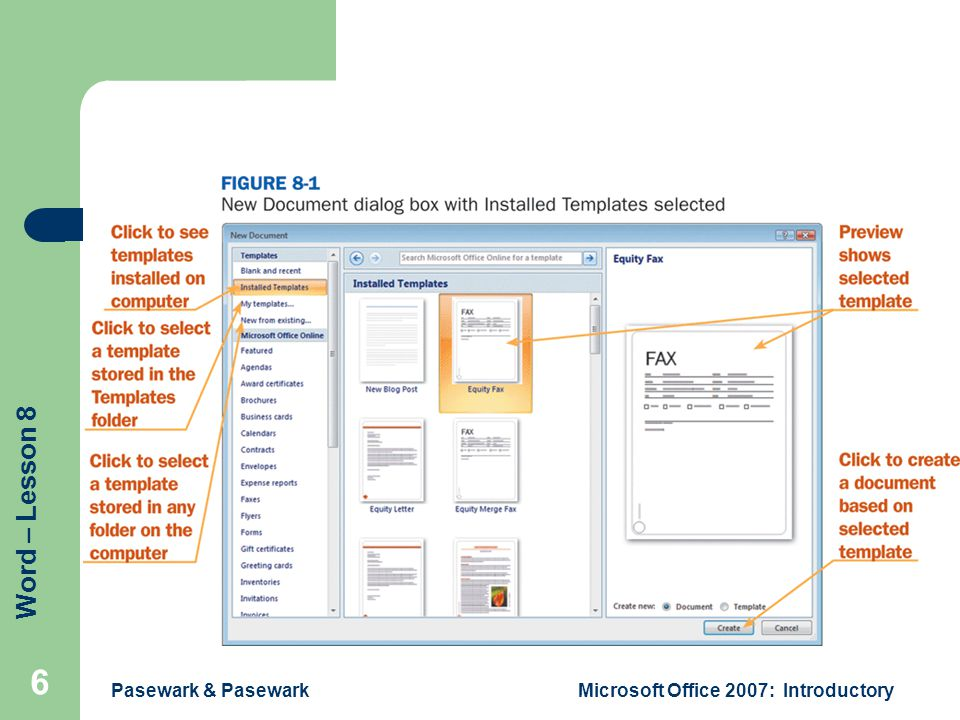 Word – Lesson 8 Pasewark & PasewarkMicrosoft Office 2007: Introductory 6