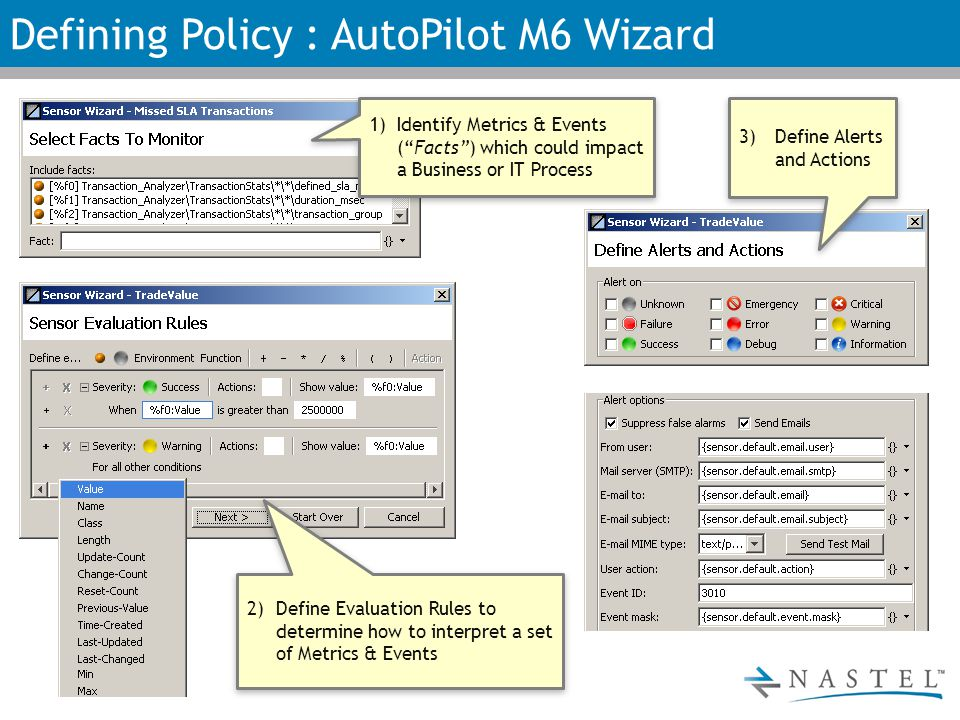 Defining Policy : AutoPilot M6 Wizard 1)Identify Metrics & Events ( Facts ) which could impact a Business or IT Process 2)Define Evaluation Rules to determine how to interpret a set of Metrics & Events 3)Define Alerts and Actions