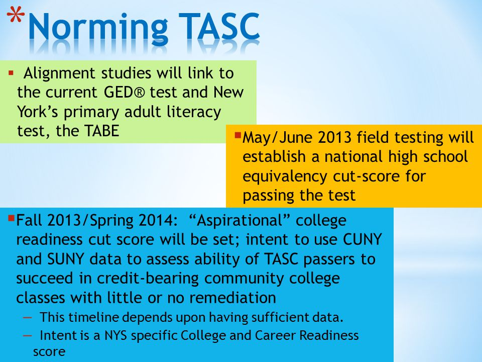  Alignment studies will link to the current GED® test and New York's primary adult literacy test, the TABE  May/June 2013 field testing will establish a national high school equivalency cut-score for passing the test  Fall 2013/Spring 2014: Aspirational college readiness cut score will be set; intent to use CUNY and SUNY data to assess ability of TASC passers to succeed in credit-bearing community college classes with little or no remediation – This timeline depends upon having sufficient data.
