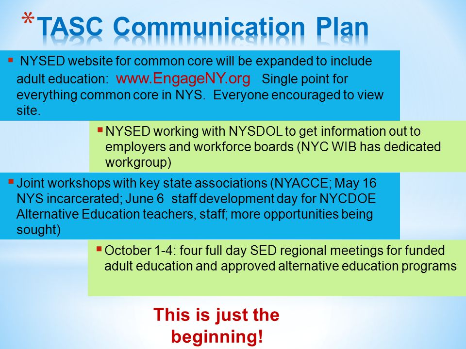  NYSED website for common core will be expanded to include adult education: www.EngageNY.org Single point for everything common core in NYS.