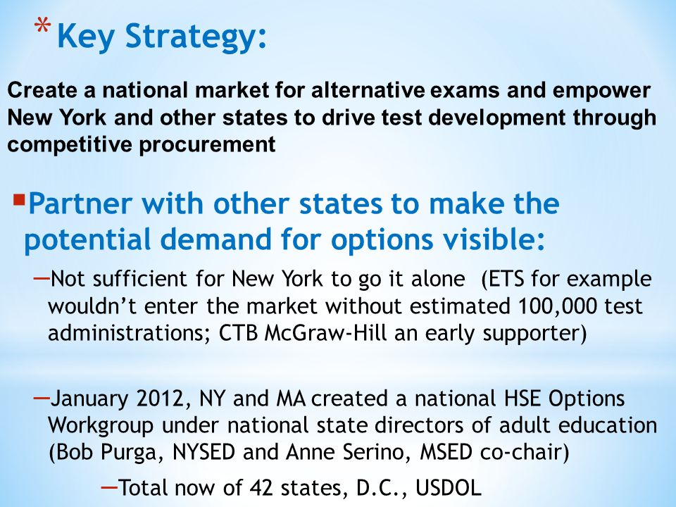 * Key Strategy: Create a national market for alternative exams and empower New York and other states to drive test development through competitive procurement  Partner with other states to make the potential demand for options visible: – Not sufficient for New York to go it alone (ETS for example wouldn't enter the market without estimated 100,000 test administrations; CTB McGraw-Hill an early supporter) – January 2012, NY and MA created a national HSE Options Workgroup under national state directors of adult education (Bob Purga, NYSED and Anne Serino, MSED co-chair) – Total now of 42 states, D.C., USDOL