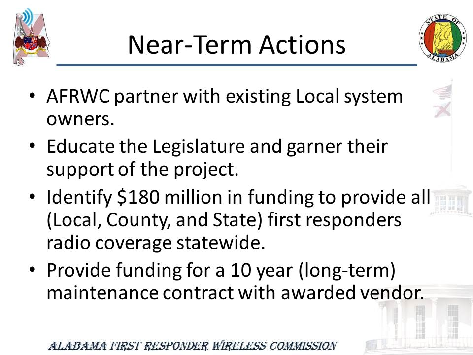 Near-Term Actions AFRWC partner with existing Local system owners.