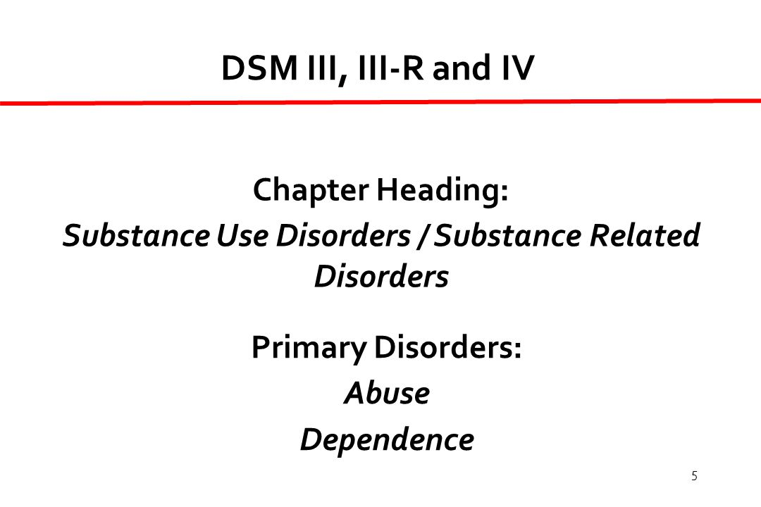 5 DSM III, III-R and IV Chapter Heading: Substance Use Disorders / Substance Related Disorders Primary Disorders: Abuse Dependence