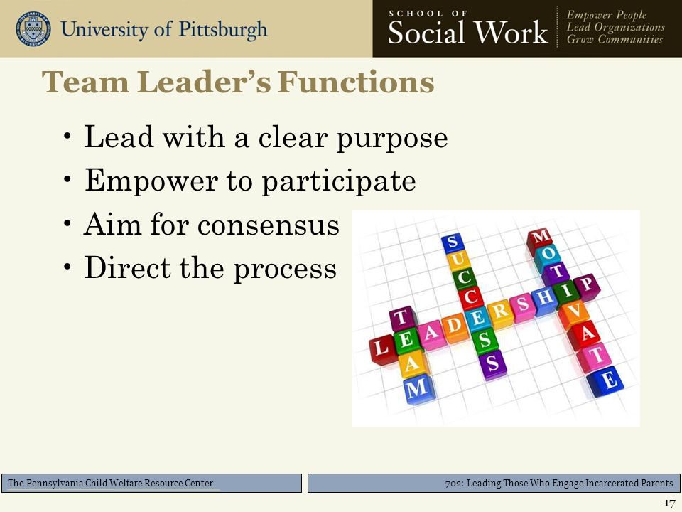 702: Leading Those Who Engage Incarcerated Parents The Pennsylvania Child Welfare Resource Center Team Leader's Functions Lead with a clear purpose Empower to participate Aim for consensus Direct the process 17