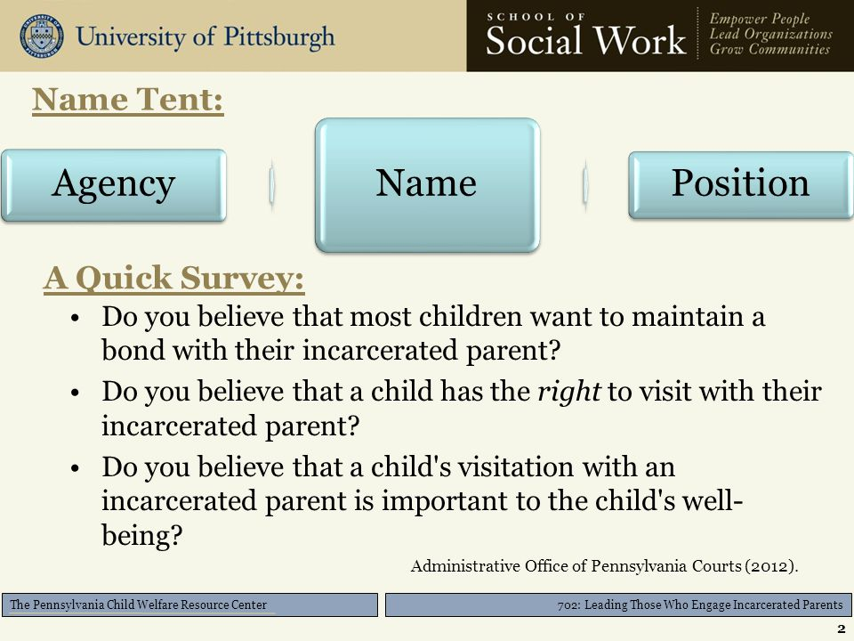 The Pennsylvania Child Welfare Resource Center A Quick Survey: Do you believe that most children want to maintain a bond with their incarcerated parent.