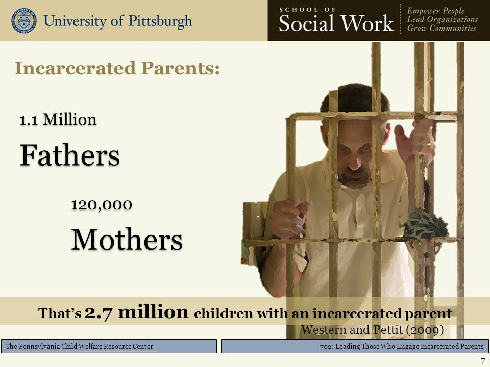 702: Leading Those Who Engage Incarcerated Parents The Pennsylvania Child Welfare Resource Center Incarcerated Parents: 7 1.1 Million Fathers 1.1 Million Fathers 120,000 Mothers 120,000 Mothers That's 2.7 million children with an incarcerated parent Western and Pettit (2009)