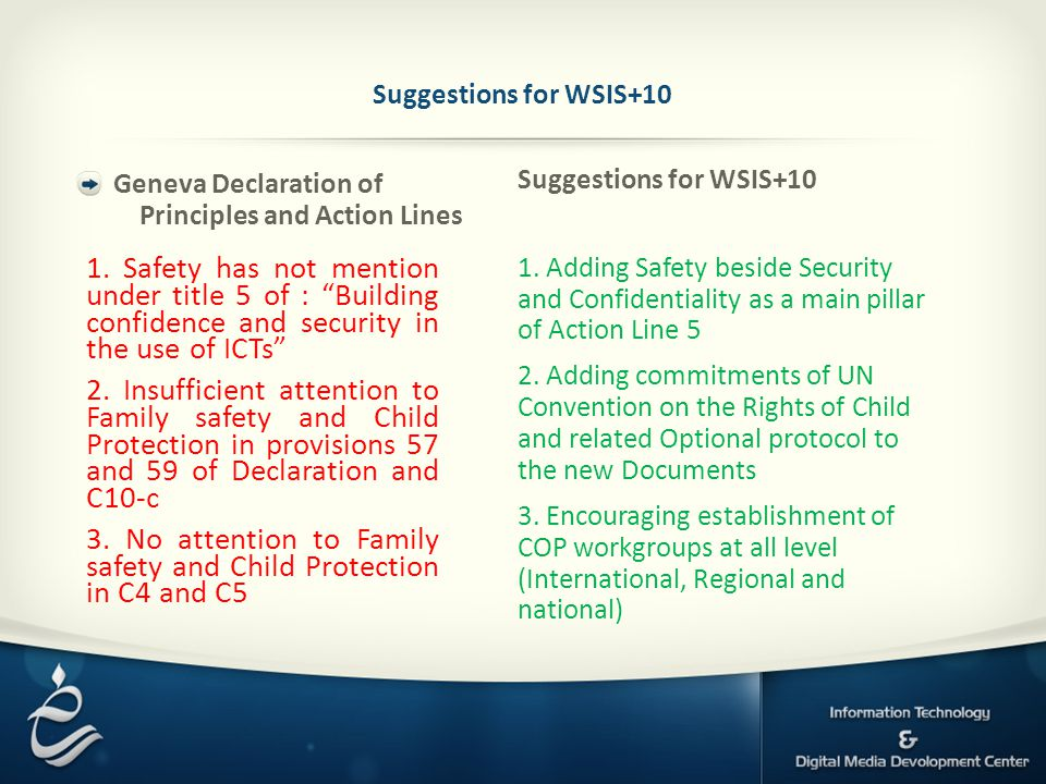 Suggestions for WSIS+10 1.
