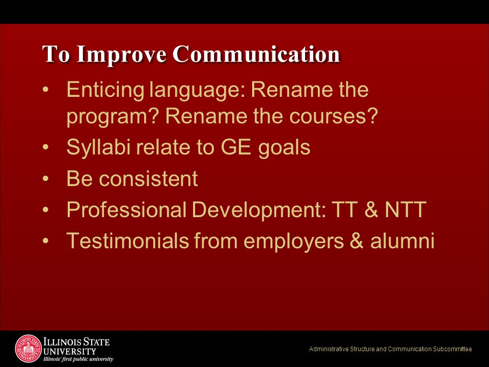 Administrative Structure and Communication Subcommittee To Improve Communication Enticing language: Rename the program? Rename the courses? Syllabi re