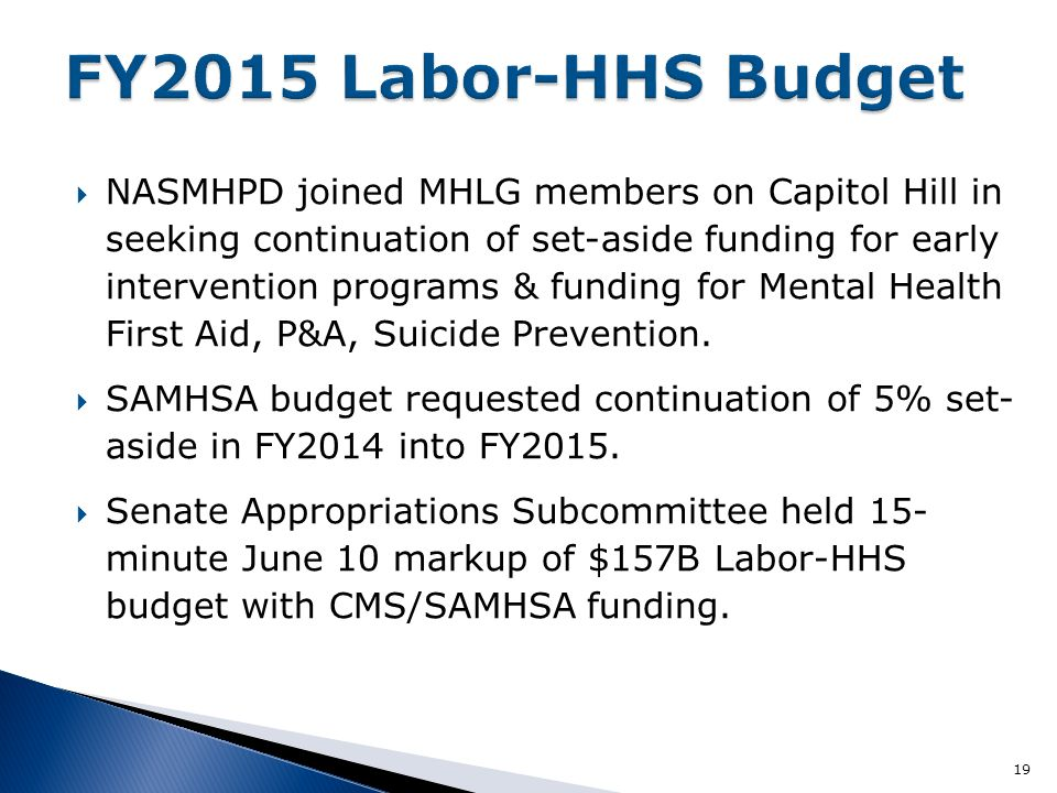  NASMHPD joined MHLG members on Capitol Hill in seeking continuation of set-aside funding for early intervention programs & funding for Mental Health First Aid, P&A, Suicide Prevention.