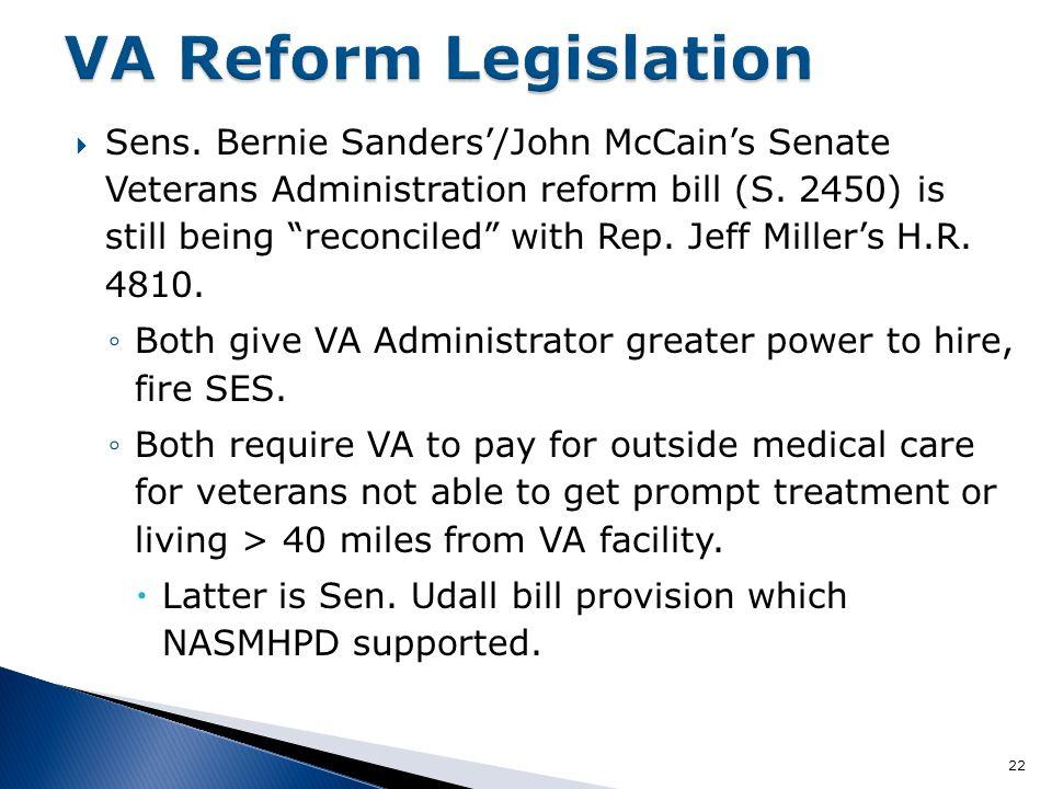  Sens. Bernie Sanders'/John McCain's Senate Veterans Administration reform bill (S.