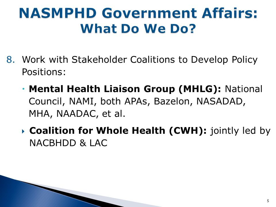 8.Work with Stakeholder Coalitions to Develop Policy Positions:  Mental Health Liaison Group (MHLG): National Council, NAMI, both APAs, Bazelon, NASADAD, MHA, NAADAC, et al.