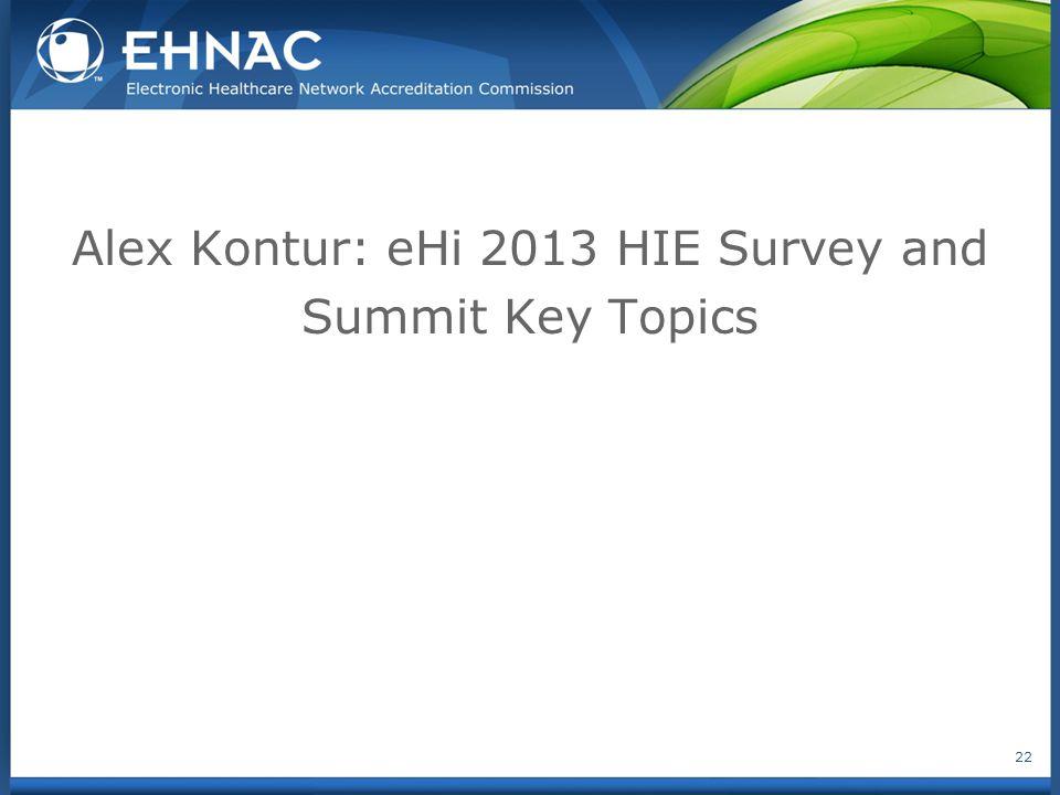 Alex Kontur: eHi 2013 HIE Survey and Summit Key Topics 22