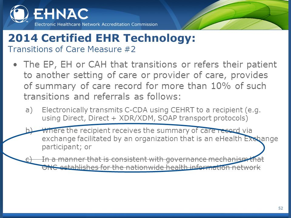 2014 Certified EHR Technology: Transitions of Care Measure #2 The EP, EH or CAH that transitions or refers their patient to another setting of care or