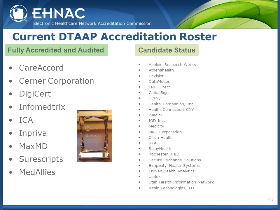 Current DTAAP Accreditation Roster CareAccord Cerner Corporation DigiCert Infomedtrix ICA Inpriva MaxMD Surescripts MedAllies Applied Research Works Athenahealth Covisint DataMotion EMR Direct GlobalSign HIXNy Health Companion, Inc Health Connection CNY iMedior IOD Inc.