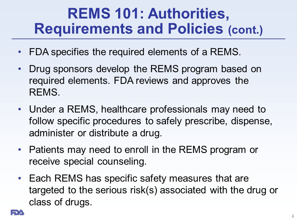 REMS Integration Initiative – Goals 15 Develop guidance on how to apply the statutory criteria to determine when a REMS is required Improve standardization and assessment of REMS Improve integration of REMS into the existing and evolving healthcare system 1 1 2 2 3 3