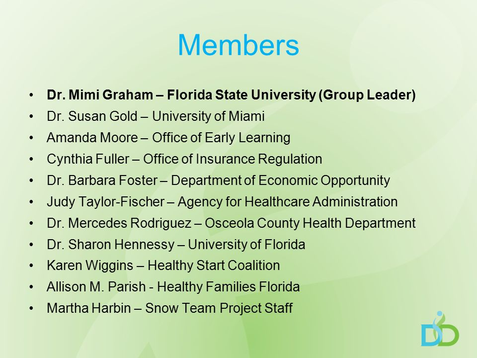 Members Dr. Mimi Graham – Florida State University (Group Leader) Dr.