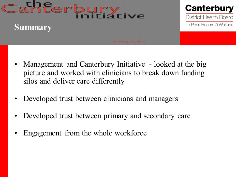 Summary Management and Canterbury Initiative - looked at the big picture and worked with clinicians to break down funding silos and deliver care differently Developed trust between clinicians and managers Developed trust between primary and secondary care Engagement from the whole workforce