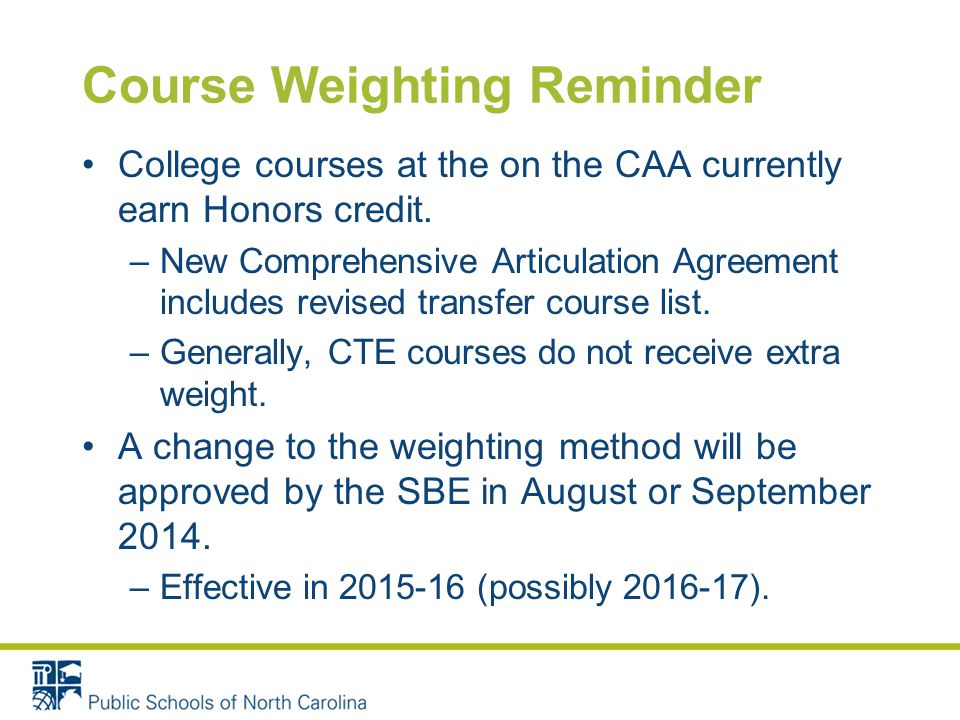 Course Weighting Reminder College courses at the on the CAA currently earn Honors credit.
