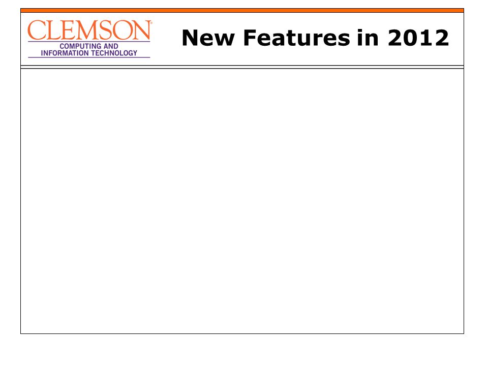 New Features in 2012