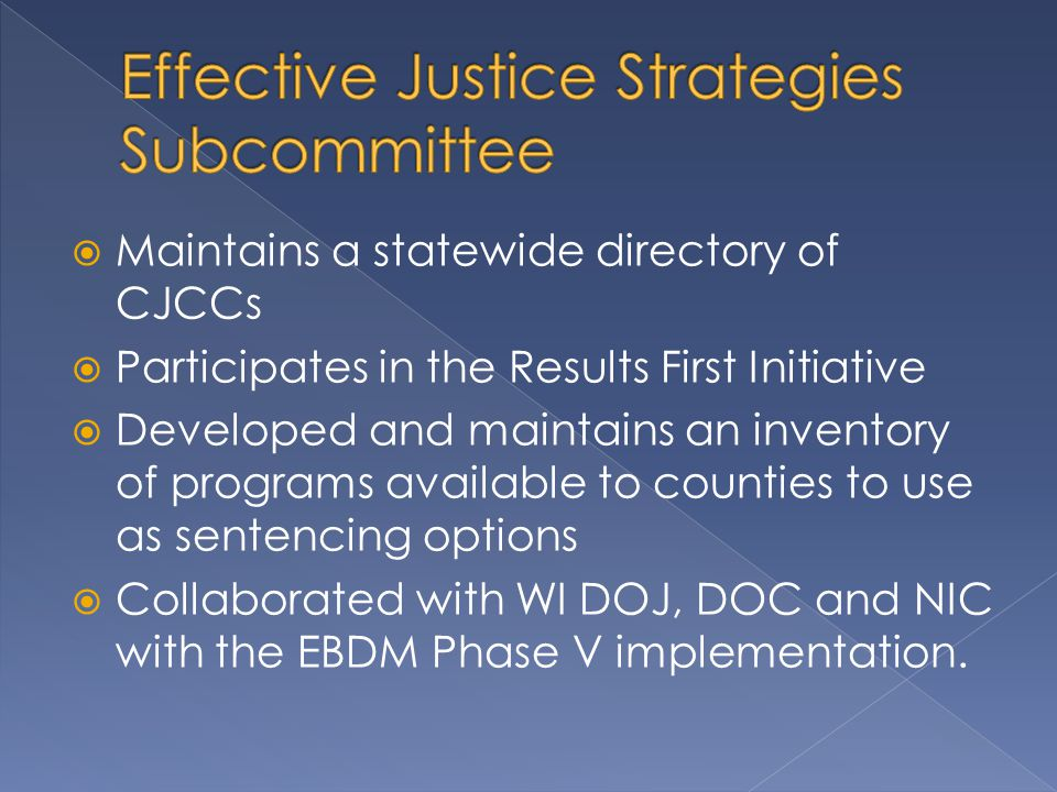  Administered by the Wisconsin Department of Justice jointly with TAD partners – Department of Health Services, Department of Corrections and Director of State Courts Office  Currently funds 34 projects totaling more than $4 million