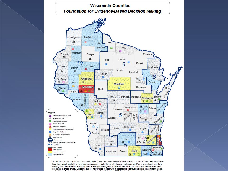  The Wisconsin Department of Justice is developing an integrated data system for Wisconsin's diversion and problem-solving courts  Enable projects with multiple funding sources (federal, state, or local) to enter data into one system  Will include core elements for each participant and separate modules for diversion projects, problem-solving courts.