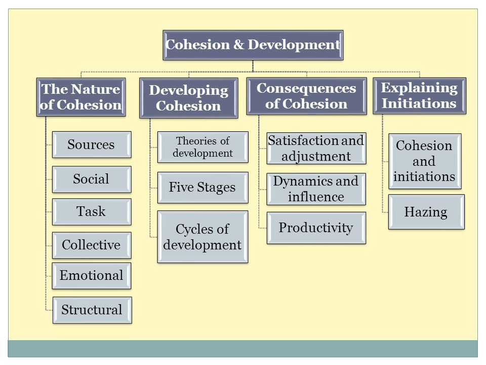 Cohesion & Development The Nature of Cohesion Sources Social Task Collective Emotional Structural Developing Cohesion Theories of development Five Sta
