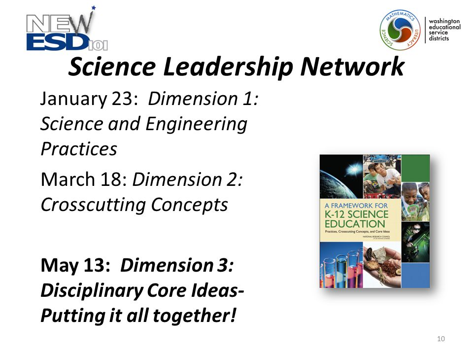 Science Leadership Network January 23: Dimension 1: Science and Engineering Practices March 18: Dimension 2: Crosscutting Concepts May 13: Dimension 3: Disciplinary Core Ideas- Putting it all together.