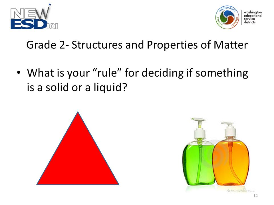 "Grade 2- Structures and Properties of Matter What is your ""rule"" for deciding if something is a solid or a liquid? 14"
