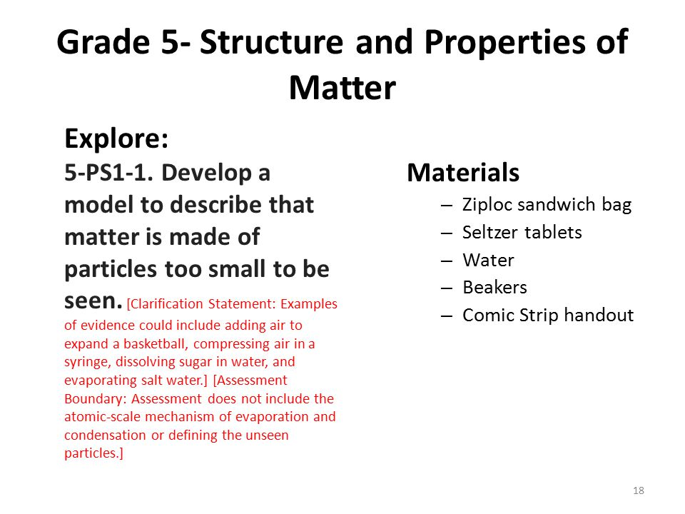 Grade 5- Structure and Properties of Matter Explore: 5-PS1-1. Develop a model to describe that matter is made of particles too small to be seen. [Clar