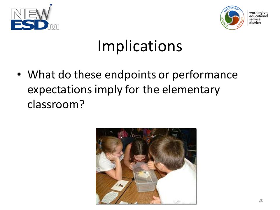 Implications What do these endpoints or performance expectations imply for the elementary classroom? 20